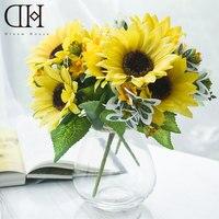ฝันบ้านDH TZ126361กระถางปลอมดอกทานตะวันดอกไม้ประดิษฐ์ตกแต่งบ้าน1ชิ้นแจกันแก้ว+ 3ชิ้นจัดงานแต่งง...