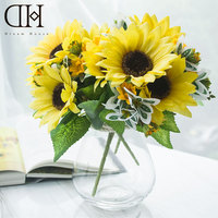 Sonho Casa DH TZ126361 potted falso girassol flores artificiais home decor 1 pcs vaso de vidro + 3 pcs do casamento do girassol flor deco