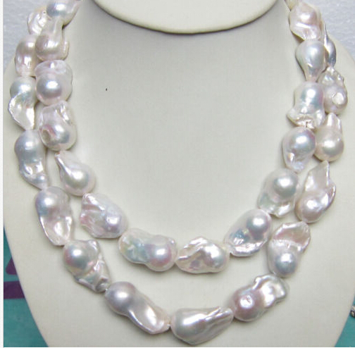 Free shipping@@@@@ A> HUGE 15-28MM SOUTH SEA GENUINE WHITE BAROQUE PEARL NECKLACE 35 INCH  CLASP 6.07Free shipping@@@@@ A> HUGE 15-28MM SOUTH SEA GENUINE WHITE BAROQUE PEARL NECKLACE 35 INCH  CLASP 6.07