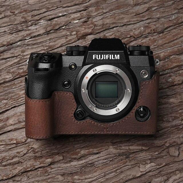 Fuji X H1 XH1 caméra Mr. Stone fait à la main en cuir véritable caméra étui vidéo demi sac caméra body