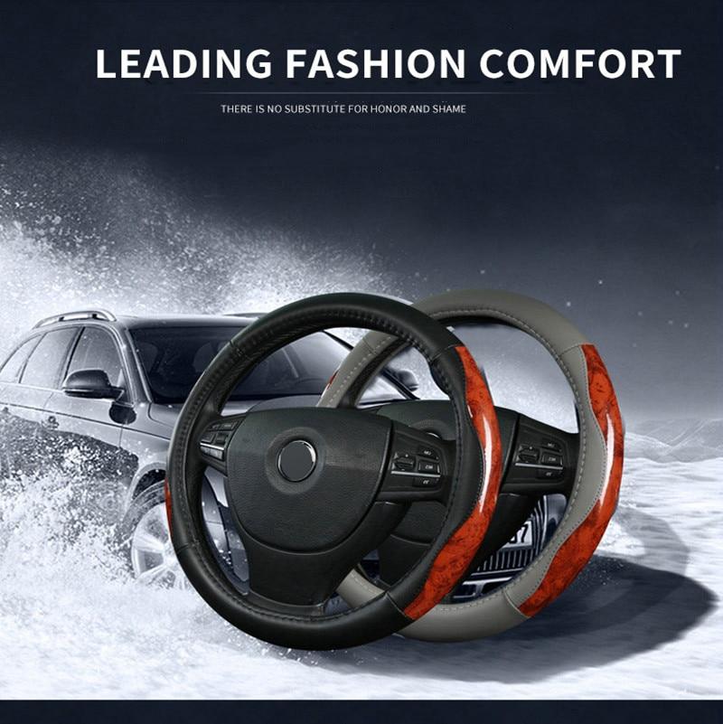 TENGRUI Leather Steering Wheel Cover for volkswagen vw passat b7/vw passat b8/vw gol/gol ...