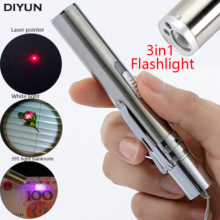 3in1 USB Rechargeable LED Flashlight / Powerful Mini LED Torch Waterproof Design Penlight Uv Light Banknote /Laser Pointer Light