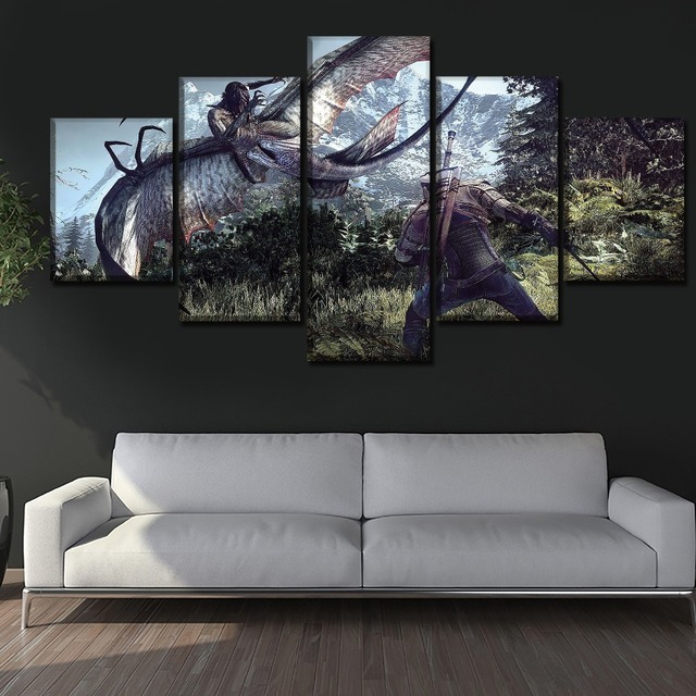 5 Panel Game The Witcher 3 Wild Hunt Duel Painting Modern Home Wall Decor Picture Canvas Art Print Poster For Modern Living Room 1