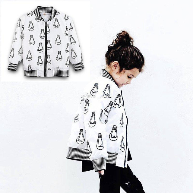 f2f9a8a1c INS Girls Light print jacket with zippers Kids white black long sleeve Tops  Children Coats for 4-9T