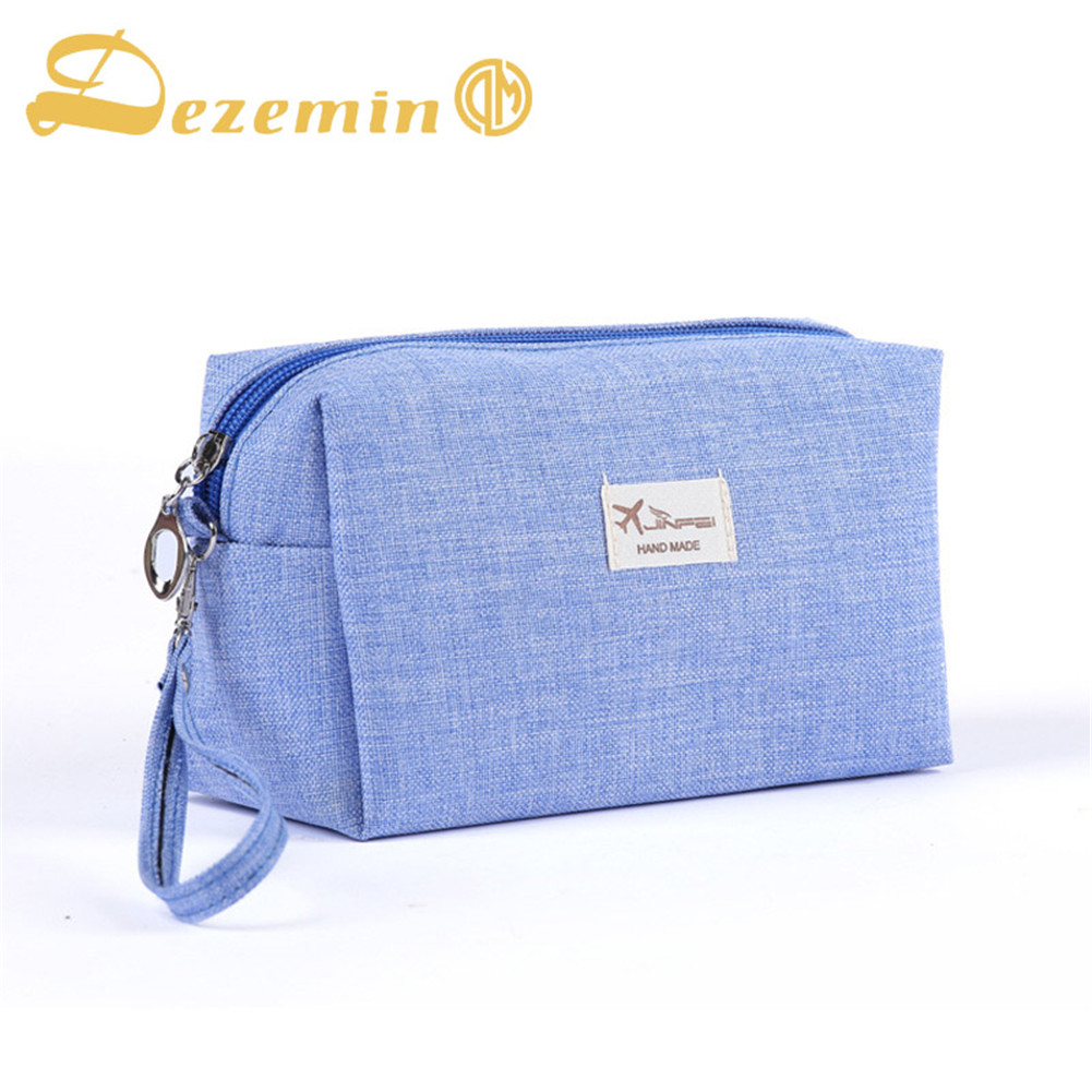 DEZEMIN Canvas Handy Cosmetic Bag Makeup Pouch with Handle clear wood handle bag with sequin pouch