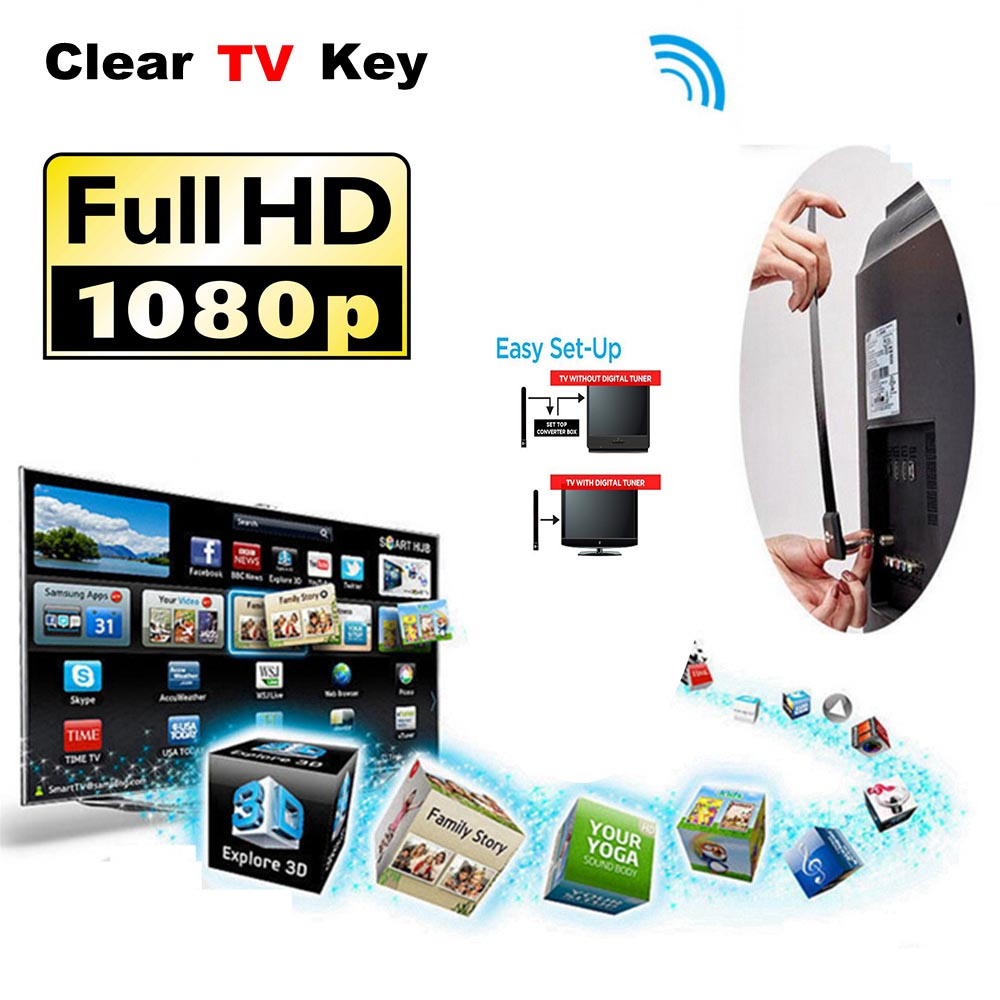 Цифровой Телевизионные антенны ясно ТВ ключ HD ТВ Бесплатная ТВ-карты спутниковые Крытый Телевизионные антенны приемника усиление сигнала ...