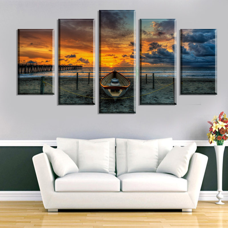 Canvas Painting 5 Pcs Canvas Wall Art Seaview Boat