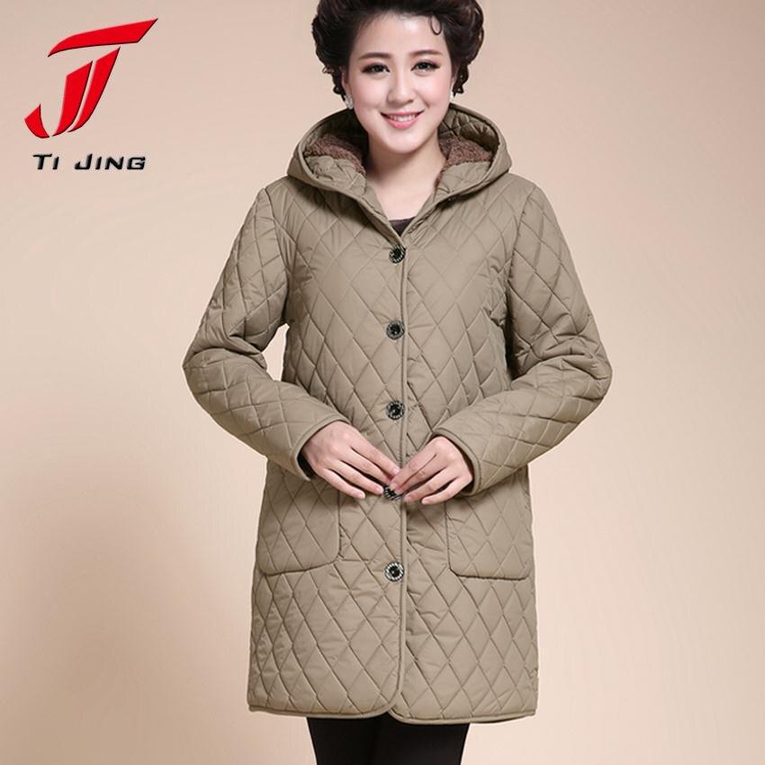 2017 новый ватные куртки плюс размер плюс размер зима хлопка-ватник среднего возраста женщины осень верхняя одежда 6XL 5XL 4XL B3921