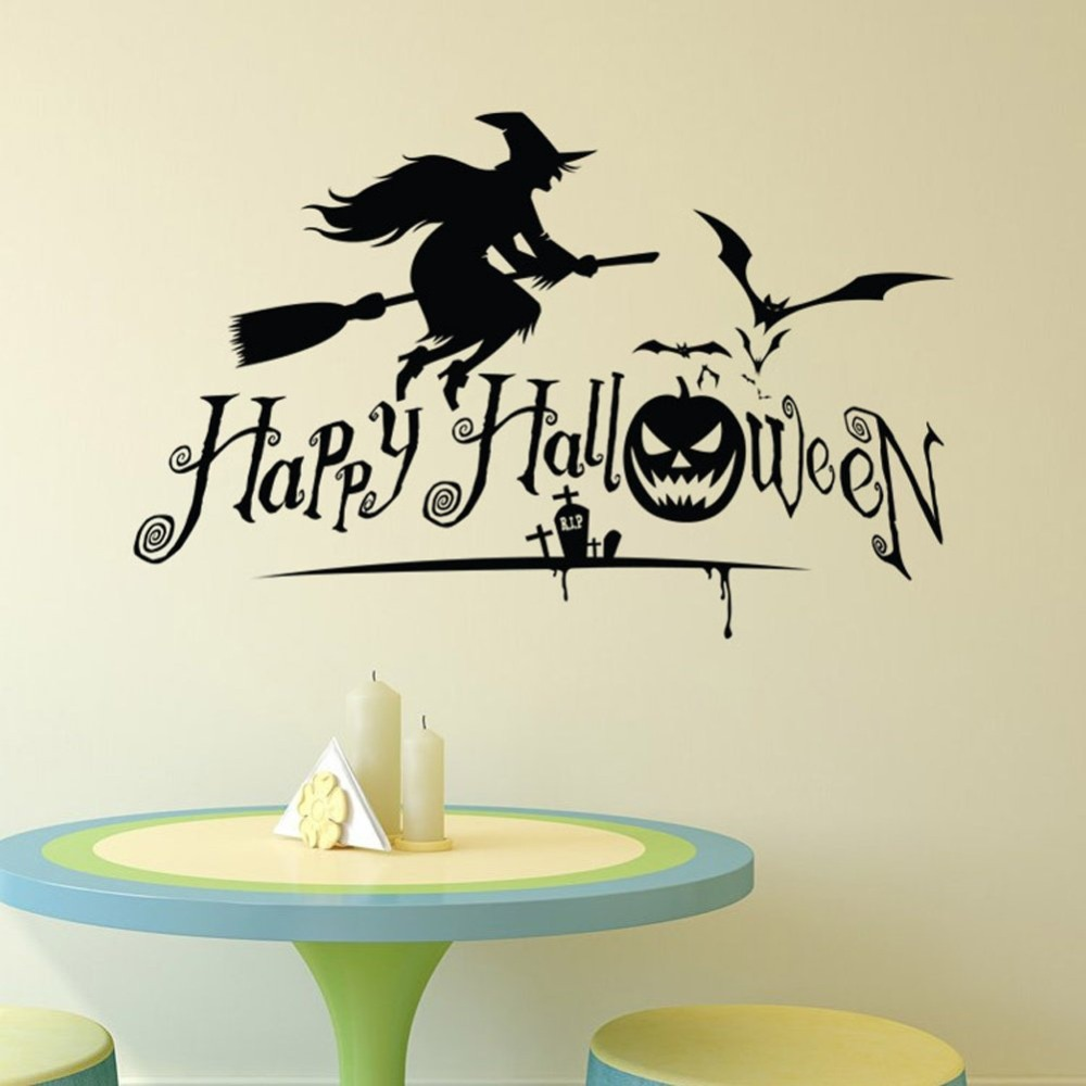 Vinyl Wall Stickers Halloween Sorceress Decals Removable Holiday Art Poster Wallpaper Decor AY1777