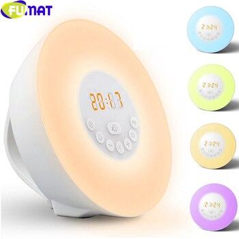 FUMAT 6 Renk Değişimi çalar Saat Gece Işıkları Ile 7 Alarm Ses Ve FM Radyo Çok Fonksiyonlu Dokunmatik Anahtar Ile Yatak Odası Için Lamba