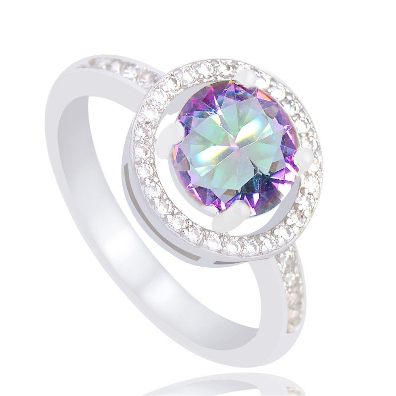 QCOOLJLY 2019 New Arrival Multi-colored Enchanting Fine Jewelry Gifts Silver Color anillos mujer CZ Ring For Women Size 6-10