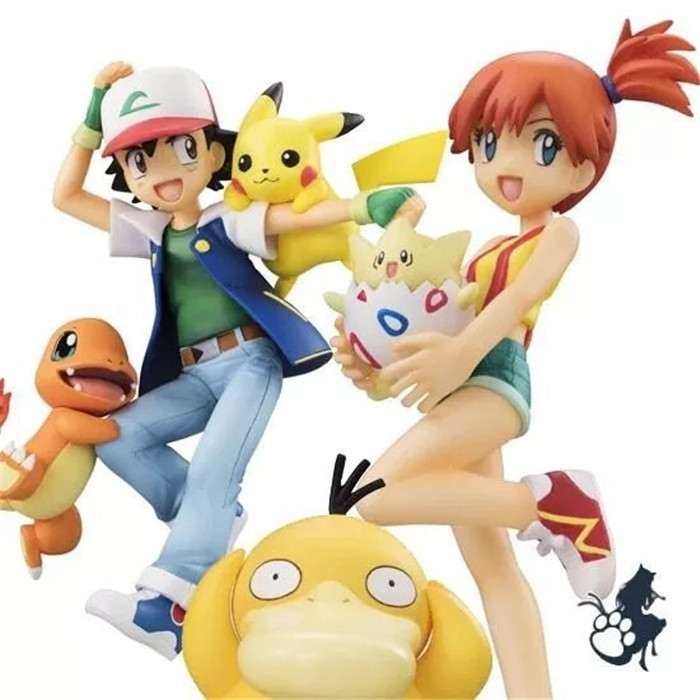 2set/Lot Anime XY Figures Ash Ketchum Pikachu & Charmander & Kasumi & Togepi & Psyduck action & toy figures action