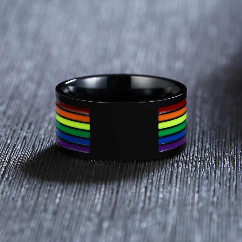 ZORCVENS สีดำสแตนเลส Rainbow LGBT Pride แหวนสำหรับเลสเบี้ยนเกย์หมั้นแถบ 10 มม.ของขวัญ