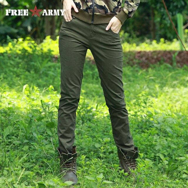 DARMOWA ARMII Mody Wysokiej Talii Spodnie Kobiet Zwykły Slim Spodnie Elastan Dorywczo Spodnie damskie Spodnie Moro Spodnie Kobiet Wiosna ołówek Spodnie