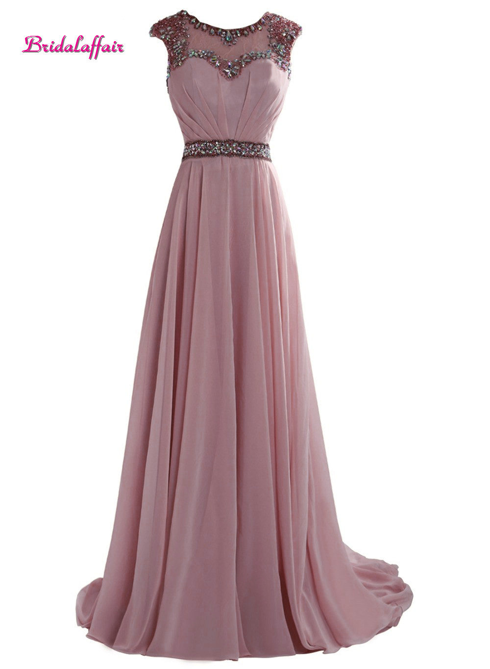 Bridalaffair Real Photo Robe de soiree Scoop Neck Long Prom Dresses 2018 Sweep Train JunoesqueBeadingParty Gown Vestido de festa in Prom Dresses from Weddings Events