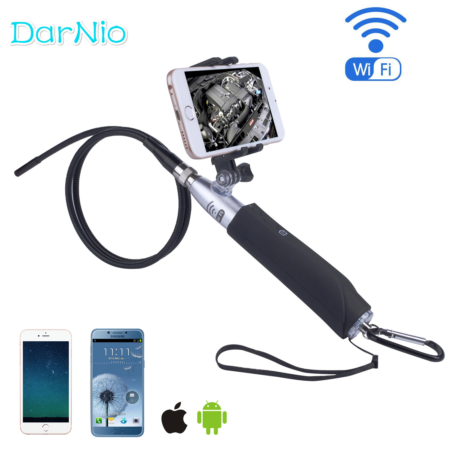 Black 720P Wireless WIFI Endoscope 2.0Mega Pixels Inspection Snake Camera 1M/3M Cable 8mm 6 LED Borescope for Android Iphone Spy image