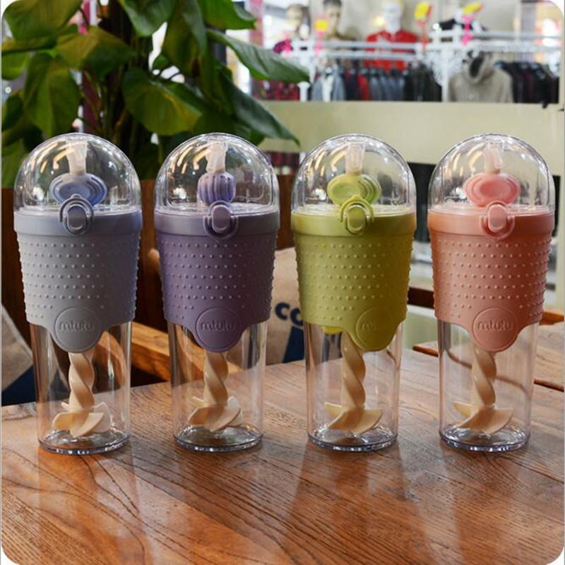 500ml Suction Protein Powder Fitness Water Glass Portable Plastic Mixing Walking Water Bottles Outdoor Sports Kettle