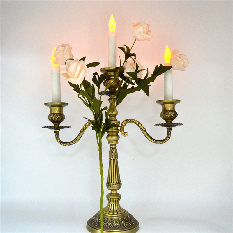12pcs Bright Amber Yellow Flickering Light LED Flameless Taper Candle for Church Temple Religious Activitives Decoration