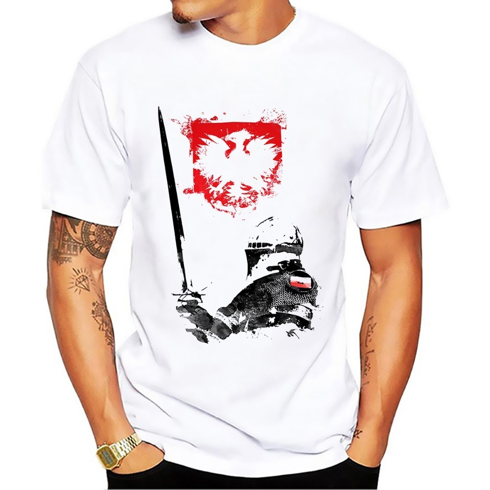 JOLLYPEACH BRAND POLAND hussar Artistic knight   t     shirt   men summer new white short sleeve casual homme cool Polish cavalry tshirt