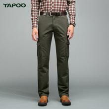 TAPOO Men's  Classic Cargo Pants Casual Baggy Cotton Slim Pant Straight Fashion Business For Male Loose Comfortable Trousers
