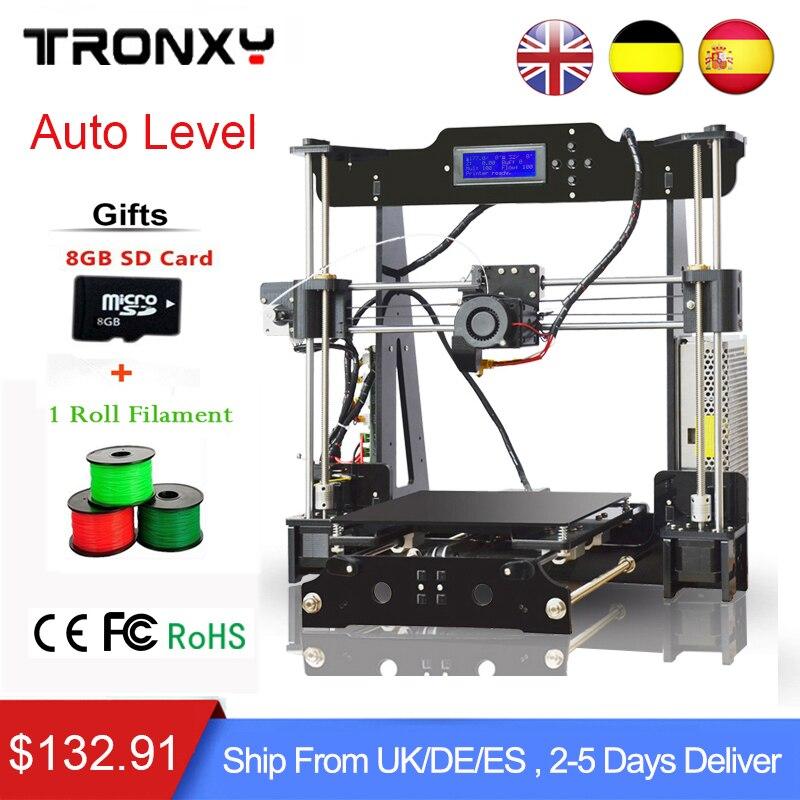 2018 Tronxy 3d Priinter kit di Alta Qualità di Auto Livellamento Precisione Reprap 3d Stampante kit FAI DA TE + 1 Rotolo Filamento 8 GB SD card COME Regalo