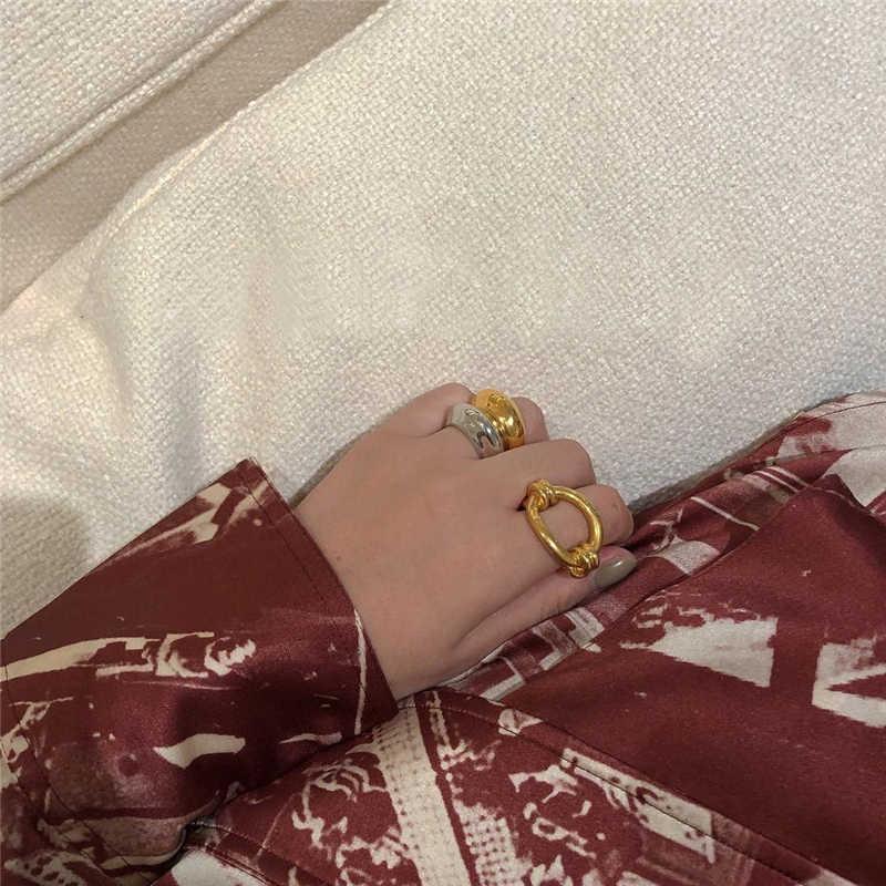 Peri'sBox трендовые золотые Серебристые цветные металлические геометрические кольца минималистичные однотонные кольца для женщин Простой дизайн кольца женское кольцо