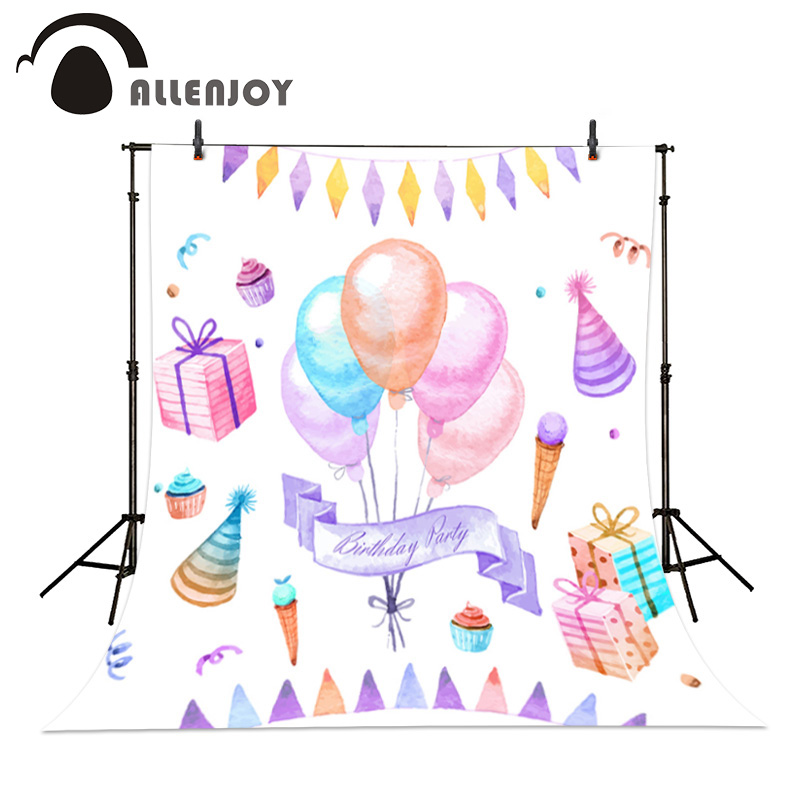 Hand painted birthday decoration Photography Background Dream balloons gift ice cream baby photo backdrops childern photo 600cm 300cm mini baby child photography lollipop gift balloons background one hundred days baby photos lk 3980
