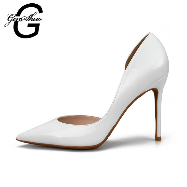 GENSHUO Sexy High Heels Shoes Women Pumps Pointed Toe Stiletto D' Orsay White Red Wedding Shoes Nude Big Small Size 32-46