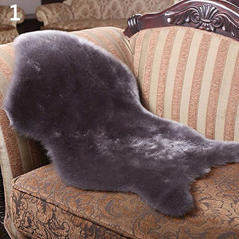Soft Faux Sheepskin Rug Mat Carpet Pad Anti-Slip Chair Sofa Cushions Home Decor Cushion Pad Warm Home Rug