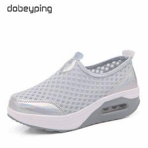 Image 3 - Женские сетчатые кроссовки dobeyping, дышащие кроссовки на плоской платформе, без застежки, для весны и лета, 2018