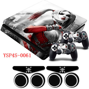 PS4 Slim Skin Harley Quinn Girl Vinyl Sticker Decal &2 Gamepad Skins+2x LED Stickers for Playstation 4 Slim Dualshock 4 Console