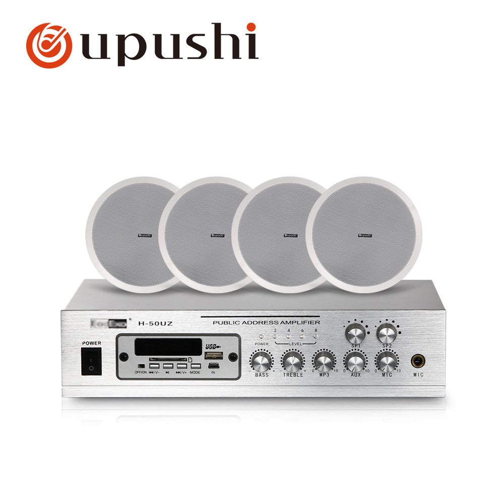 Home Background Music System 2 Zone Pa Amplifier 8 Inch In Ceiling Speakers 50w Home Digital Audio With MP3, USB, FM, SD Card