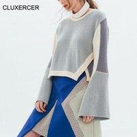 CLUXERCER Brand Sweaters Women Fashion O Neck Long Flare Sleeve Asymmetrical Sweater Autumn Winter Loose Solid Women Sweater