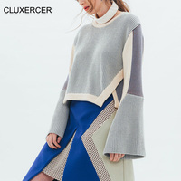 CLUXERCER Brand Sweaters Women Fashion O Neck Long Flare Sleeve Asymmetrical Sweater Autumn Winter Loose Solid Women Sweater