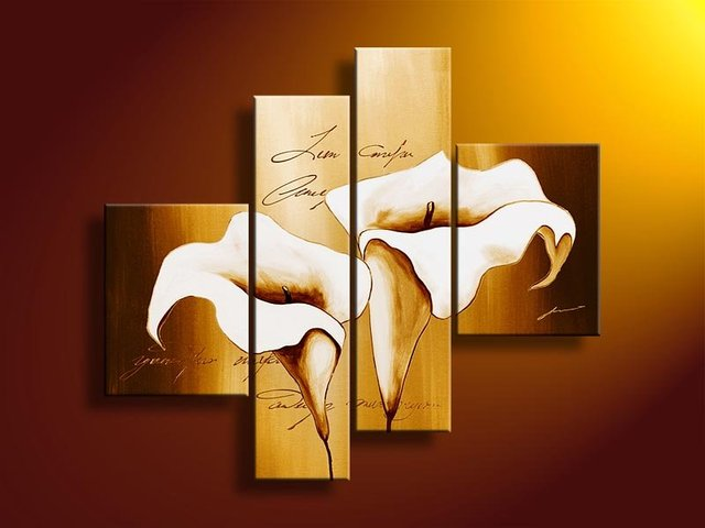 Hand Painted Oil Wall Art Golden White Flowers Decoration Abstract Simple Painting Designs On
