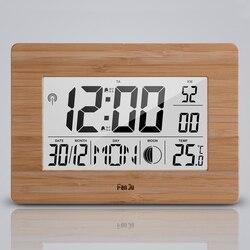FanJu FJ3530 большой Экран цифровой двойной будильник Indoor Температура Повтор часы Moon Phase Календарь Светодиодный Настольные часы Современный