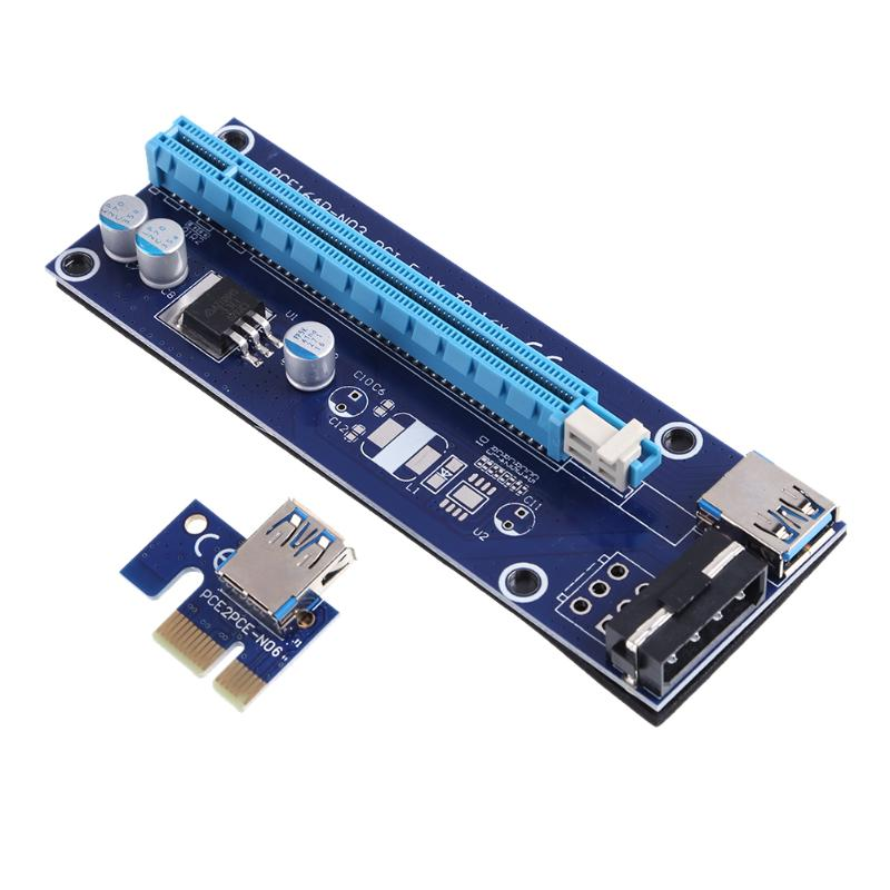 60CM PCI-E Riser Card PCIE 1x to 16x Extender with USB 3.0 Cable + SATA to 4Pin IDE Molex Power Supply for BTC LTC Miner 15pin sata pci e riser pcie express 1x to16x extender riser adapter mining card with 60cm usb 3 0 cable for btc ltc eth miner