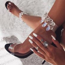 Black White Learher Women Sandals Cut-out Rhinestone Ankle Strap Wedding Shoes Bride Hollow Thin Heels Clear PVC Strap Sandals trendy rhinestone cut out winebottle keyring