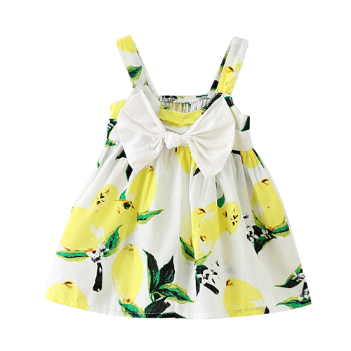 b8dd4480db Summer Infant Baby Girls Floral Dress Lemon Print Bowknot Sundress Clothes