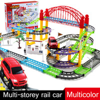 Kids Electric play Car Toy Set Assembly Puzzle Road Toy Model Slots Toy Racing Bi Rail Car For Children present Birthday Gift