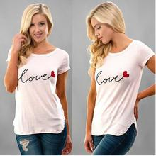 T Women T-shirt 2019 Summer Short-sleeved Loose T-shirts Holiday Love Letter Print Sweet Tee Tops Round Neck Casual TShirt Tops girls letter print round neck tee