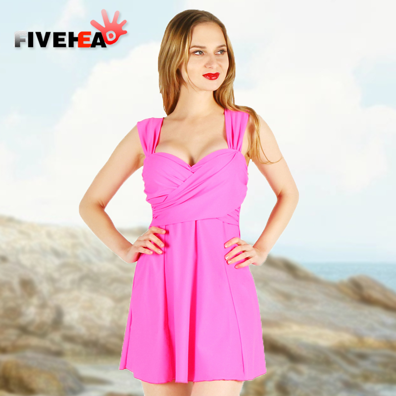 one-piece women swimwear sexy sling solid color halter deep v large size big bust bathing swimsuit push up swimdress female sexy solid color halter one piece skirted swimwear for women