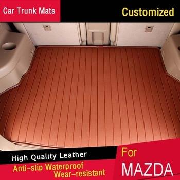 Car Trunk Mats for Mazda 2 3 5 Axela Atenza MX-5 CX-5 CX-7 Customized Trunk Mat Carpets Waterproof Trunk Rugs