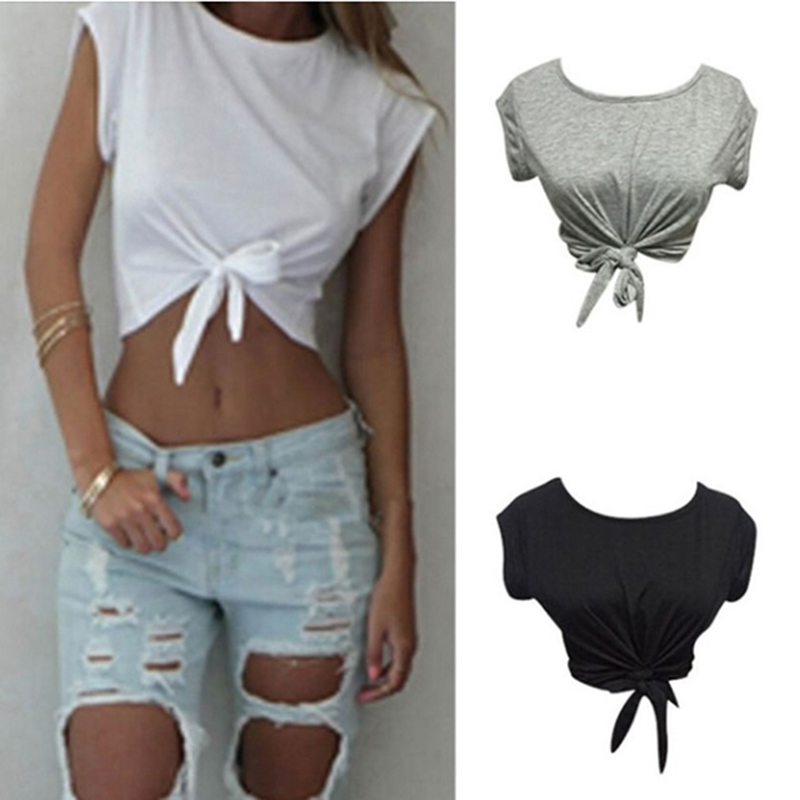 Summer Women Knotted Tie Front Crop Tops Cropped T Shirt Casual Blouse Tanks Camis Knotted Tie Front Crop Tops