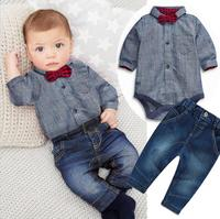 2016 New Gray Gentleman Rompers Shirts Red Plaid Bow Jeans 2pcs Baby Sets Baby Boys Clothes