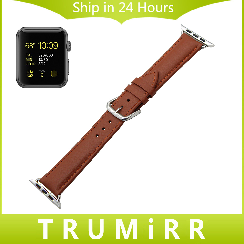 Genuine Leather Watchband Full Grain + Adapters for 38mm 42mm iWatch Apple Watch Band Wrist Strap Men Women Bracelet Black Brown black men s sports bracelet genuine leather wrist watch bands connector adapter strap for 42mm 38mm apple watch band for iwatch