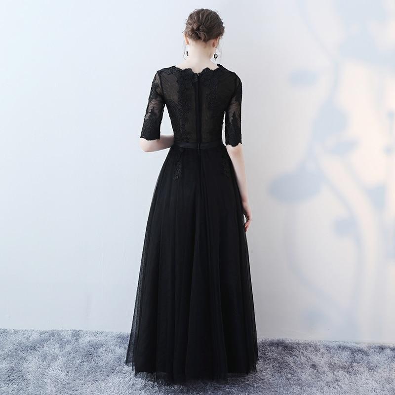 Maß Wenig Party Kleider Frauen Abendkleid Applikationen Schwarz Sexy Lange Nach Formale 2019 Tüll Junoesque Abend C4S6xx
