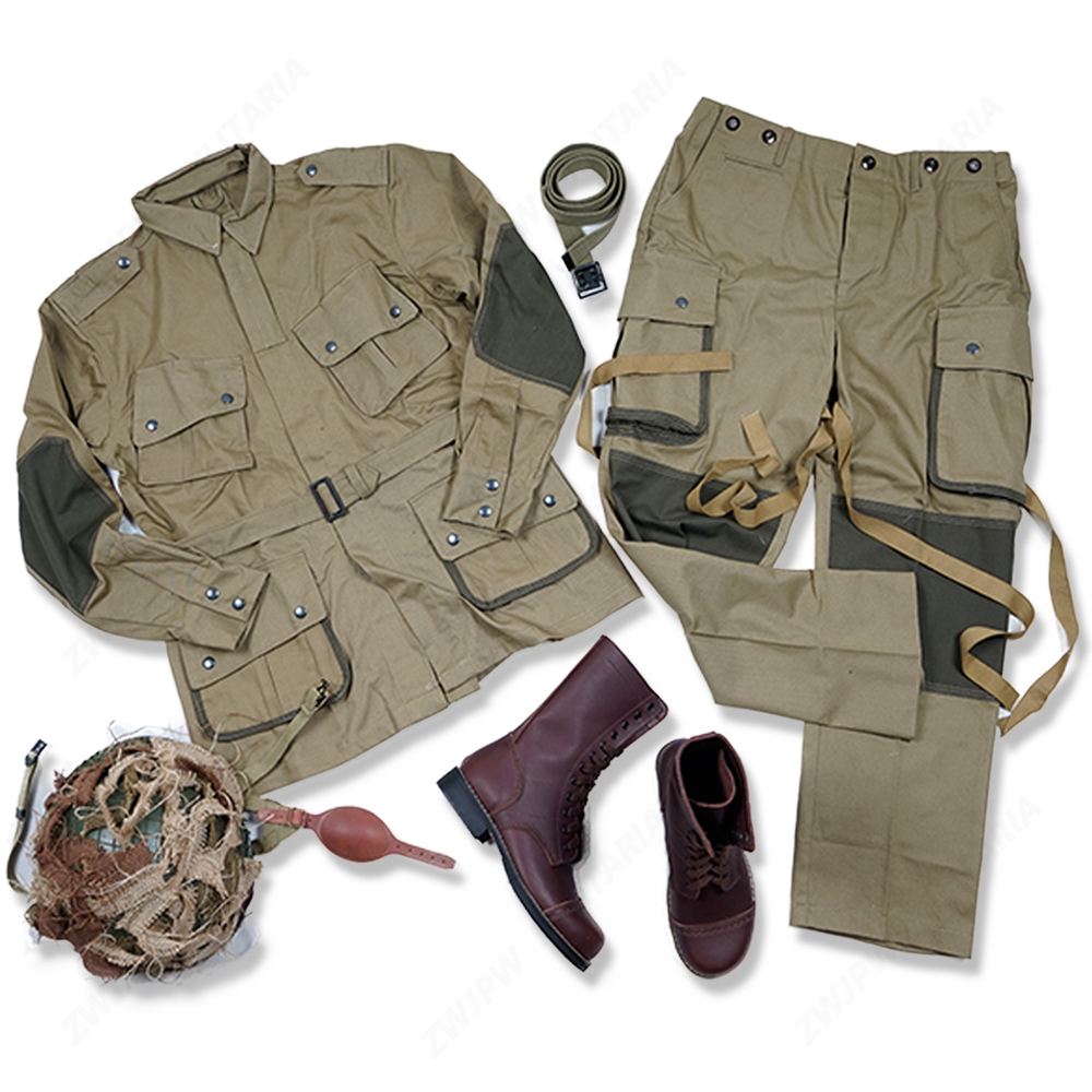 WW2 US ARMY M42 101 AIR FORCE Paratroopers UNIFORM AND M1 HELMET WITH COVER USMC LEGGINGS AND BOOT BELT wwii ww2 us army m42 uniform m42 101 air force paratroopers troops pants tactical outdoor pants us 501101