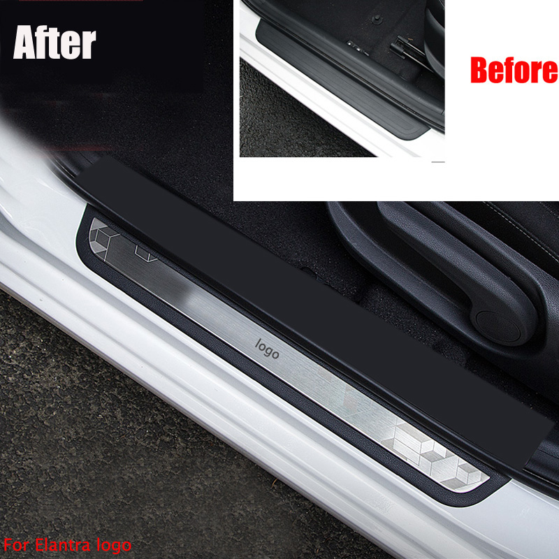 2Pcs Fit for Hyundai Santa Fe 2013-2016 Door Plate Bumper Cover Bar Sill Trims