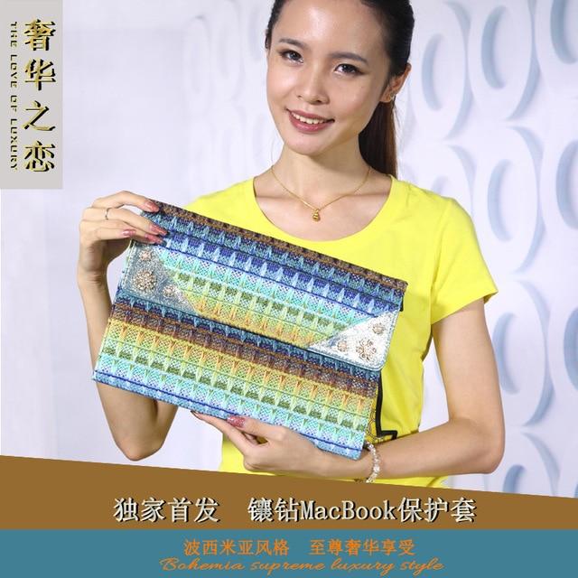 best service 869e7 aa015 US $19.32  Luxury Rhinestone decorate Laptop Cover Case For Macbook  Air/Retina Notebook Sleeve bag11